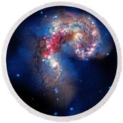 Antennae Galaxies Collide 2 Round Beach Towel