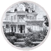 Anthemion At 4631 St Charles Ave. New Orleans Sketch Round Beach Towel