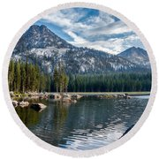 Anthony Lake Round Beach Towel by Robert Bales