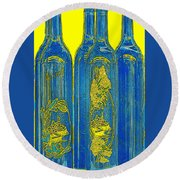 Antibes Blue Bottles Round Beach Towel
