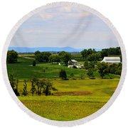 Antietam Battlefield And Mumma Farm Round Beach Towel by Patti Whitten