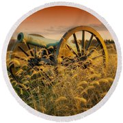 Round Beach Towel featuring the photograph Antietam Maryland Cannon Battlefield Landscape by Paul Fearn