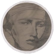 Round Beach Towel featuring the drawing Antigone By Jrr by First Star Art