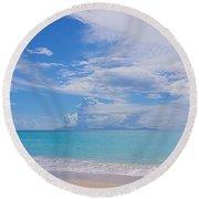 Antigua View Of Montserrat Volcano Round Beach Towel
