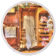 Antique Armoire Round Beach Towel by Liane Wright