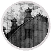 Antique Barn - Black And White Round Beach Towel
