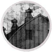 Antique Barn - Black And White Round Beach Towel by Joseph Skompski