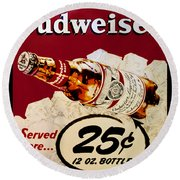Antique Budweiser Signage Round Beach Towel
