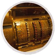 Round Beach Towel featuring the photograph Antique Cash Register by Jerry Cowart