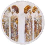 Antique Copper Zulu Ladies - Original Artwork Round Beach Towel