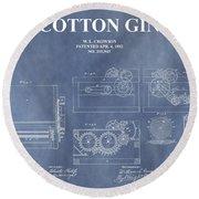 Antique Cotton Gin Patent Round Beach Towel