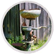 Round Beach Towel featuring the photograph Antique Cream Separator by Sherman Perry