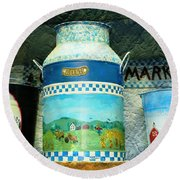 Round Beach Towel featuring the photograph Antique Dairy Milk Can And Pails by Judy Palkimas