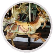 Antique Dentzel Menagerie Carousel Goat Round Beach Towel