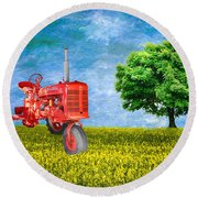 Antique Farmall Tractor Round Beach Towel
