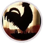 Antique Glass Chicken Silhouette Round Beach Towel by Kathy Barney