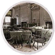Antique Independence Hall Round Beach Towel