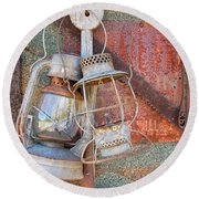 Antique Kerosene Lamps Round Beach Towel