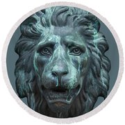 Antique Lion Face In Blue Round Beach Towel