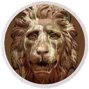 Antique Lion Face In Brown Round Beach Towel