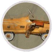 Antique Pedal Car L Round Beach Towel