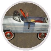 Antique Pedal Car Lv Round Beach Towel