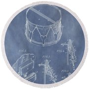Antique Snare Drum Patent Round Beach Towel by Dan Sproul