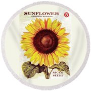 Antique Sunflower Seeds Pack Round Beach Towel
