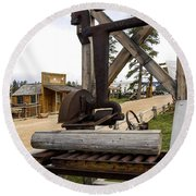 Round Beach Towel featuring the photograph Antique Table Saw Tool Wood Cutting Machine by Paul Fearn