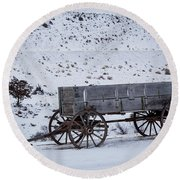 Round Beach Towel featuring the photograph Antique Wagon by Michael Chatt