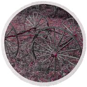 Round Beach Towel featuring the photograph Antique Wagon Wheels by Sherman Perry
