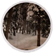 Antique Woodscape Round Beach Towel