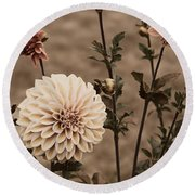 Antiqued Dahlias Round Beach Towel by Jeanette C Landstrom