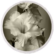 Antiqued Gladiolus Round Beach Towel by Jeanette C Landstrom