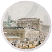 Antiquities Found At Herculaneum Being Transported To The Naples Museum, C.1782 Pen, Ink & Wc Round Beach Towel