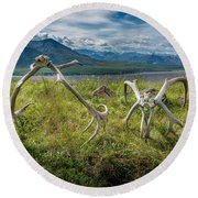 Antlers On The Hill Round Beach Towel