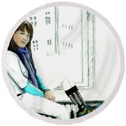Antonela In The Window Round Beach Towel