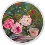 Round Beach Towel featuring the painting Anyone For Tea? by Jenny Lee