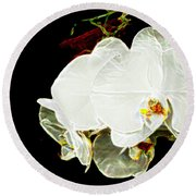 Aos White Orchid 1 Round Beach Towel