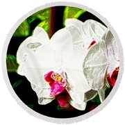 Aos White Orchid 2 Round Beach Towel