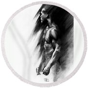 Round Beach Towel featuring the drawing Apart by Paul Davenport
