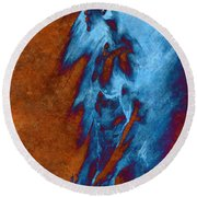 Round Beach Towel featuring the drawing Apart With Mood Texture by Paul Davenport
