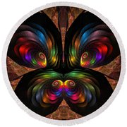Round Beach Towel featuring the digital art Apo Butterfly by GJ Blackman