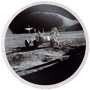 Apollo 15 Lunar Rover Round Beach Towel by Commander David Scott