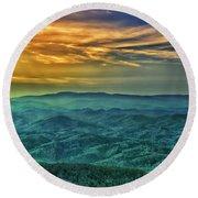 Appalachian Mountain Sunset Round Beach Towel