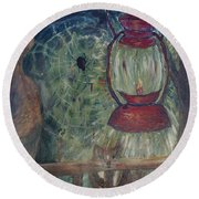 Round Beach Towel featuring the painting Appalachian Nights  by Avonelle Kelsey