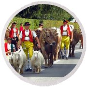 Appenzell Parade Of Cows Round Beach Towel