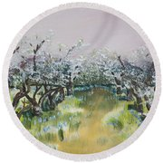 Apple Blossoms In Ellijay -apple Trees - Blooming Round Beach Towel