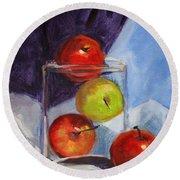 Apple Jar Still Life Painting Round Beach Towel