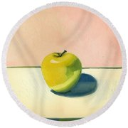 Apple - Pink And White Round Beach Towel